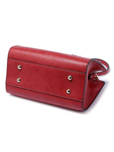 Metal Ring PU Leather Handbag - RED  Mobile