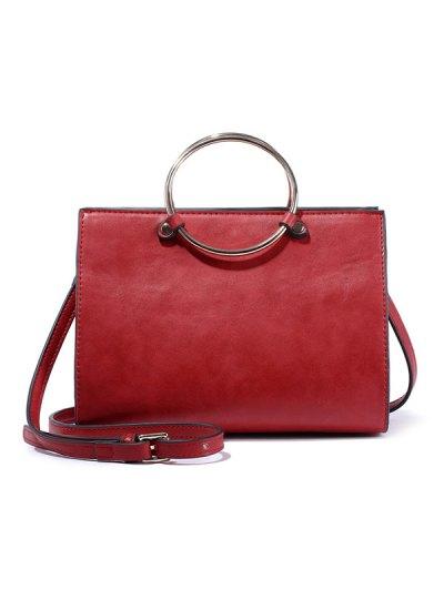 Metal Ring PU Leather Handbag - GREEN  Mobile
