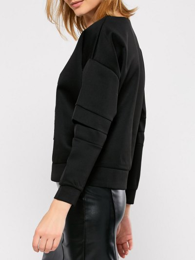 Cut Out Embroidered Baseball Sweatshirt - BLACK L Mobile