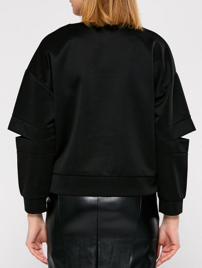 Cut Out Embroidered Baseball Sweatshirt - BLACK S Mobile
