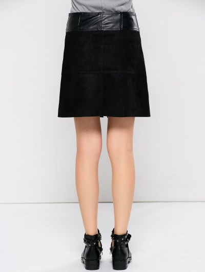 PU Leather Panel A Line Skirt - BLACK M Mobile