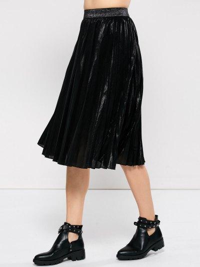 Pleated Tea Length Skirt - BLACK XL Mobile