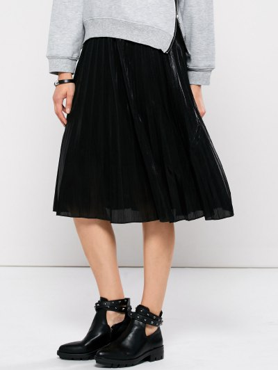 Pleated Tea Length Skirt - BLACK L Mobile
