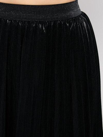 Pleated Tea Length Skirt - BLACK M Mobile