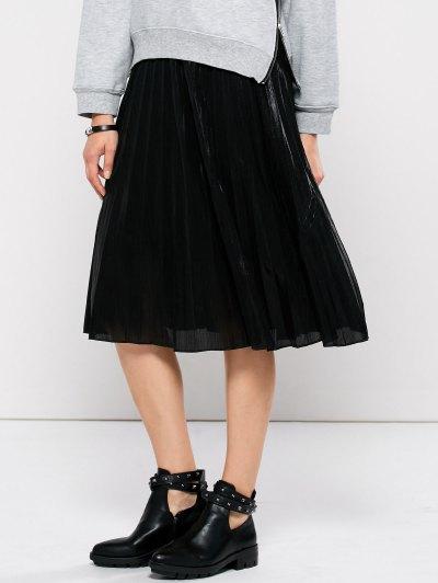 Pleated Tea Length Skirt - BLACK S Mobile