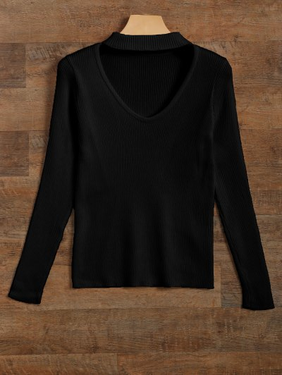 Ribbed Cut Out Choker Jumper - BLACK L Mobile
