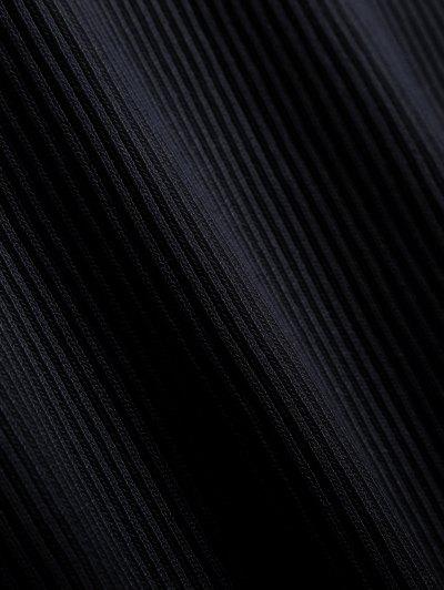 Ribbed Cut Out Choker Jumper - BLACK M Mobile