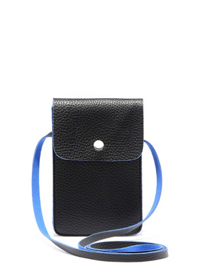 PU Leather Cell Phone Purse - BLUE AND BLACK  Mobile