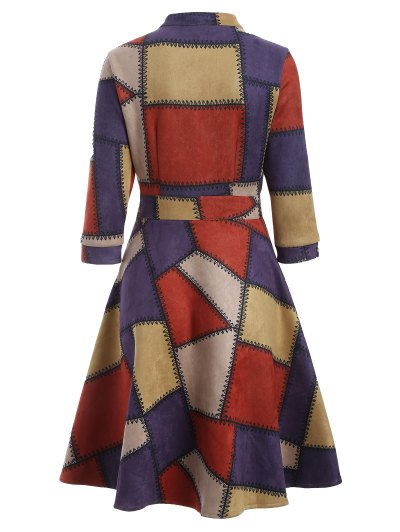 Geometric Pattern Fit and Flare Dress - RED S Mobile