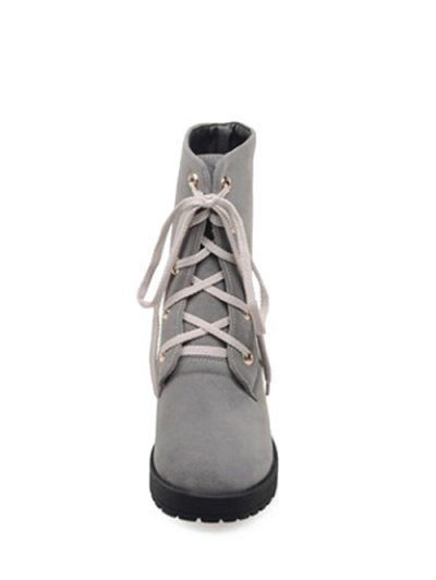 Dark Color Tie Up Platform Ankle Boots - GRAY 37 Mobile