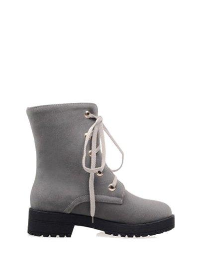 Dark Color Tie Up Platform Ankle Boots - GRAY 38 Mobile