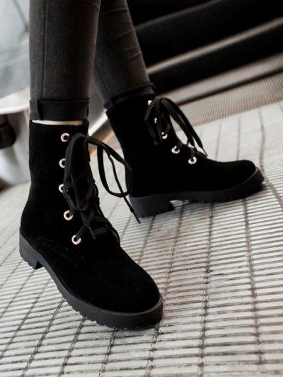 Dark Color Tie Up Platform Ankle Boots - BLACK 37 Mobile