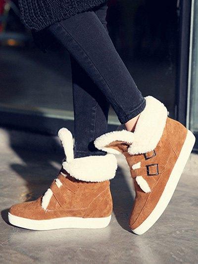 Buckles Faux Fur Flat Heel Short Boots - BROWN 39 Mobile