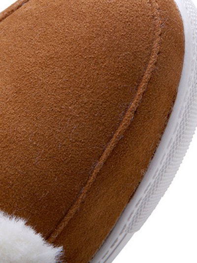 Buckles Faux Fur Flat Heel Short Boots - BROWN 37 Mobile