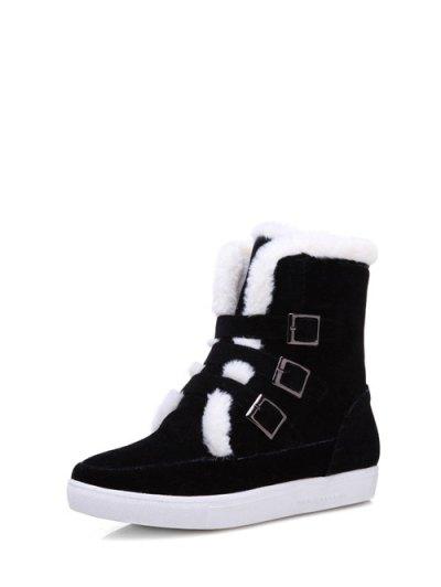 Buckles Faux Fur Flat Heel Short Boots - BLACK 39 Mobile
