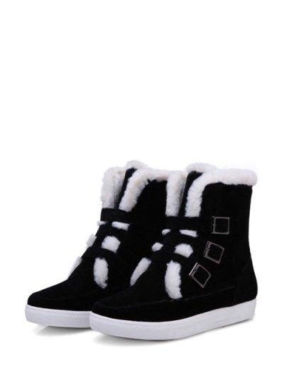 Buckles Faux Fur Flat Heel Short Boots - BLACK 37 Mobile