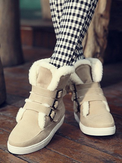 Buckles Faux Fur Flat Heel Short Boots - OFF-WHITE 39 Mobile