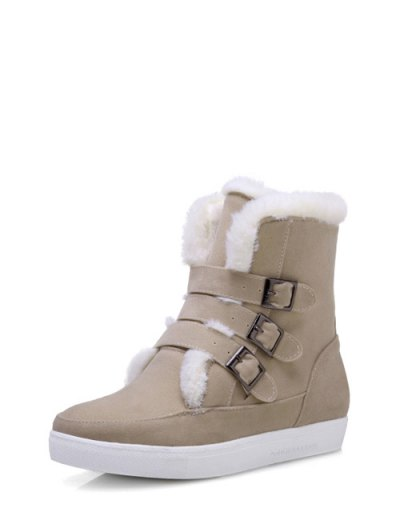 Buckles Faux Fur Flat Heel Short Boots - OFF-WHITE 38 Mobile