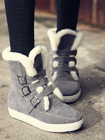 Buckles Faux Fur Flat Heel Short Boots - GRAY 39 Mobile