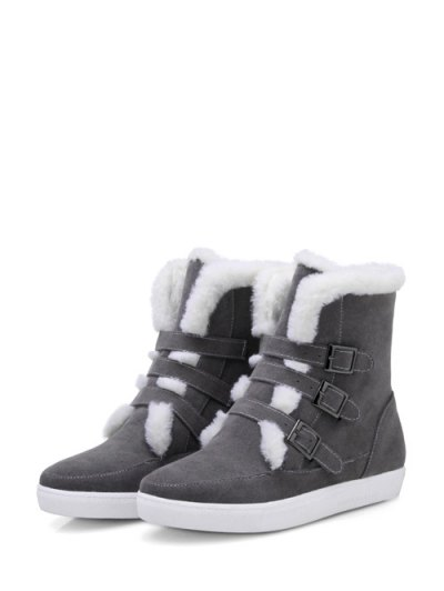Buckles Faux Fur Flat Heel Short Boots - GRAY 37 Mobile