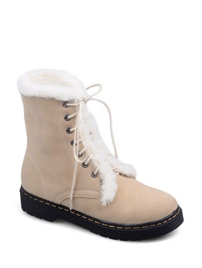 Faux Fur Stitching Tie Up Short Boots - APRICOT 39 Mobile