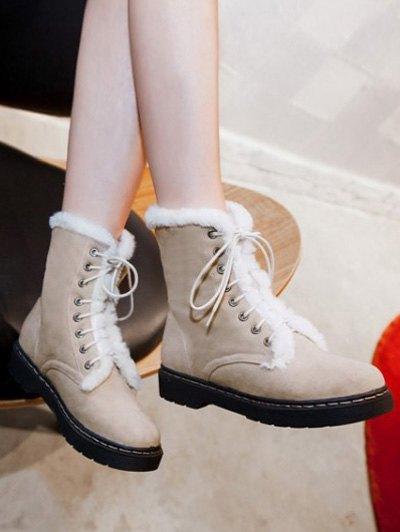 Faux Fur Stitching Tie Up Short Boots - APRICOT 37 Mobile