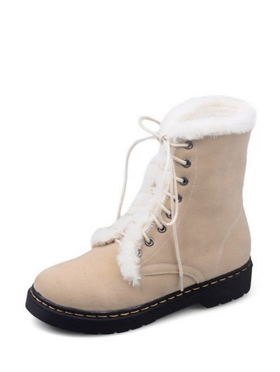 Faux Fur Stitching Tie Up Short Boots - APRICOT 38 Mobile