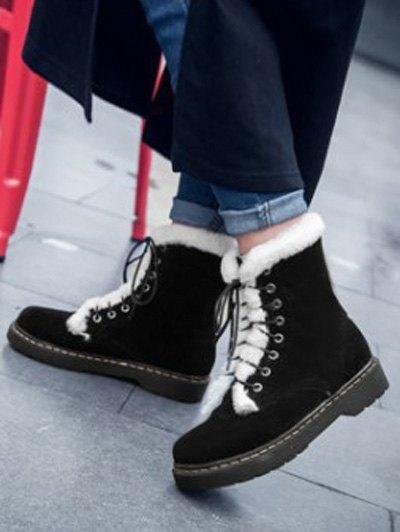Faux Fur Stitching Tie Up Short Boots - BLACK 39 Mobile