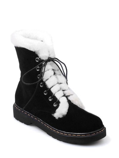 Faux Fur Stitching Tie Up Short Boots - BLACK 37 Mobile