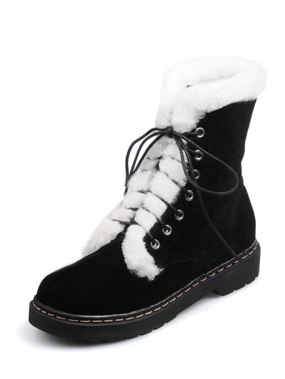 Faux Fur Stitching Tie Up Short Boots - BLACK 38 Mobile