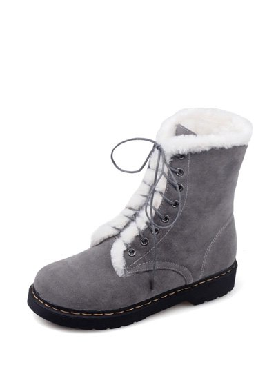 Faux Fur Stitching Tie Up Short Boots - GRAY 39 Mobile