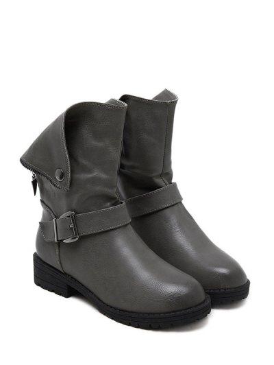 Belt Buckle Zipper Short Boots - DEEP GRAY 40 Mobile