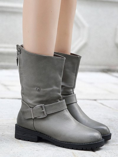 Belt Buckle Zipper Short Boots - DEEP GRAY 38 Mobile