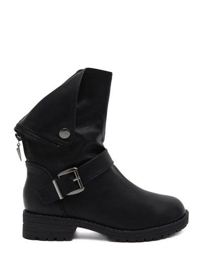 Belt Buckle Zipper Short Boots - BLACK 40 Mobile