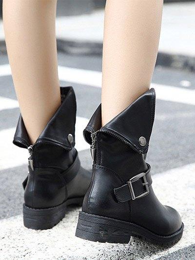 Belt Buckle Zipper Short Boots - BLACK 37 Mobile