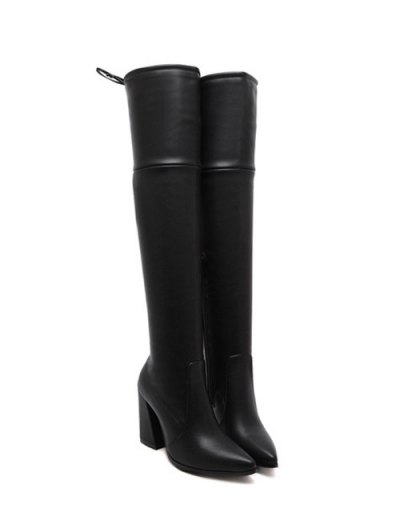 Tie Up Zipper Pointed Toe Thigh Boots - BLACK 38 Mobile