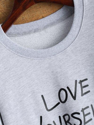 Crewneck Love Yourself Graphic Sweatshirt - GRAY L Mobile