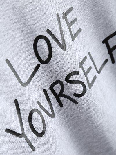 Crewneck Love Yourself Graphic Sweatshirt - GRAY M Mobile
