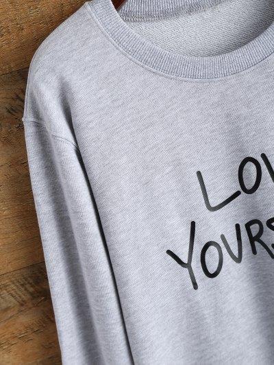 Crewneck Love Yourself Graphic Sweatshirt - GRAY S Mobile