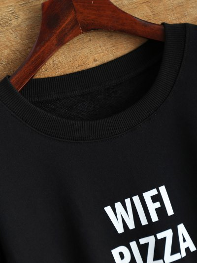Text Print Crewneck Sweatshirt - BLACK S Mobile
