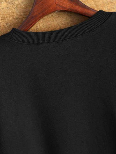 Graphic Crew Neck Streetwear Sweatshirt - BLACK L Mobile