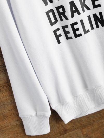 Graphic Crew Neck Streetwear Sweatshirt - WHITE L Mobile