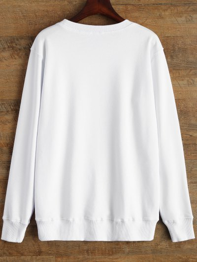 Graphic Crew Neck Streetwear Sweatshirt - WHITE S Mobile