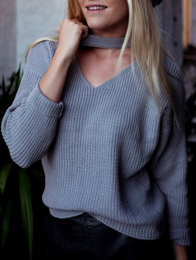 V Neck Ribbed Choker Sweater - GRAY ONE SIZE Mobile