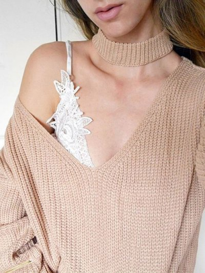 V Neck Ribbed Choker Sweater - KHAKI ONE SIZE Mobile