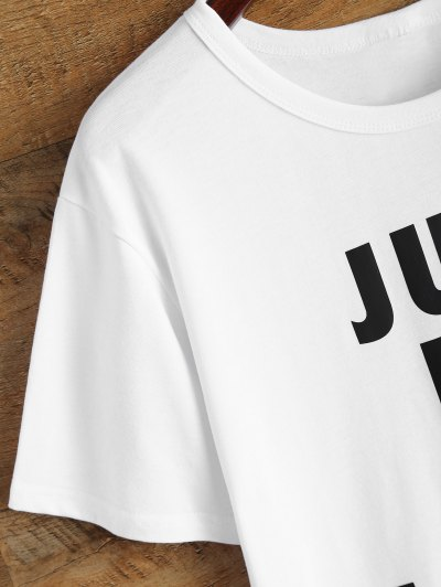 Jewel Neck Just Do It Later T-Shirt - WHITE M Mobile