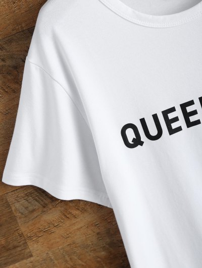 Jewel Neck Queen Bee T-Shirt - WHITE L Mobile