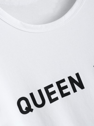 Jewel Neck Queen Bee T-Shirt - WHITE M Mobile