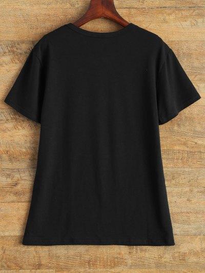 Jewel Neck The 1975 T-Shirt - BLACK M Mobile