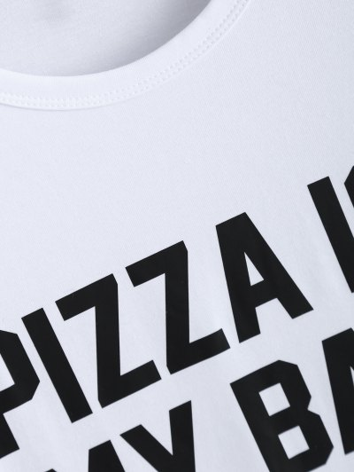 Jewel Neck Pizza Is My Bae T-Shirt - WHITE S Mobile